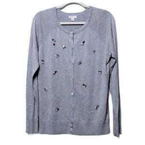 NWOT MERONA Gray Jeweled Cardigan Sweater XL